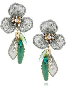 LILY Kolczyki zielone kwiaty z kryształkami i emalią KLI0007