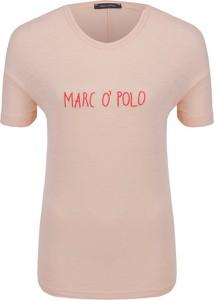 Różowy t-shirt Marc O'Polo z krótkim rękawem w stylu casual