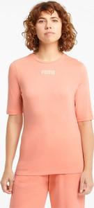 Różowa bluzka Puma z okrągłym dekoltem z krótkim rękawem w sportowym stylu