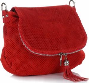 Torebki skórzane listonoszki firmy genuine leather czerwone