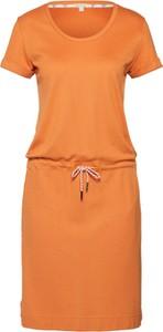 Pomarańczowa sukienka Barbour z dresówki z okrągłym dekoltem