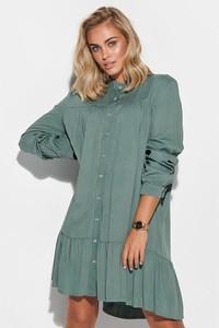 Zielona sukienka Makadamia mini koszulowa z długim rękawem