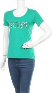 Zielona bluzka Guess z okrągłym dekoltem z krótkim rękawem
