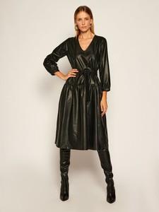 Sukienka Twinset ze skóry oversize z długim rękawem