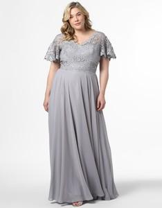 Sukienka Luxuar Fashion z dekoltem w kształcie litery v dla puszystych z krótkim rękawem
