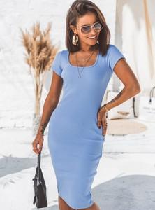 Niebieska sukienka SELFIEROOM w stylu casual mini z krótkim rękawem