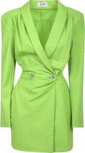 Zielona sukienka The Attico z długim rękawem z dekoltem w kształcie litery v z wełny