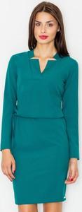 Zielona sukienka Figl z długim rękawem mini