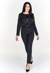 Granatowy kombinezon La Vie w stylu glamour z długimi nogawkami