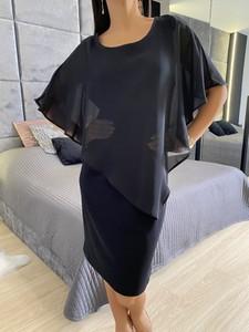 Czarna sukienka ModnaKiecka.pl z szyfonu mini z długim rękawem