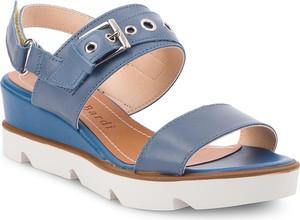 Niebieskie sandały Sergio Bardi ze skóry ekologicznej z klamrami na wysokim obcasie