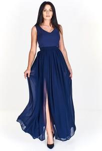 Niebieska sukienka Pawelczyk24.pl z dekoltem w kształcie litery v