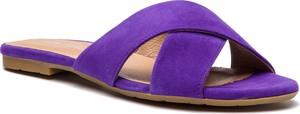 Fioletowe klapki Gino Rossi ze skóry z płaską podeszwą