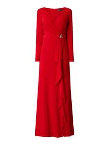 Czerwona sukienka Ralph Lauren z długim rękawem maxi kopertowa
