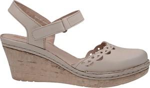 Brązowe sandały Manitu na wysokim obcasie