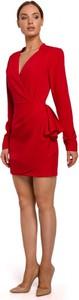 Sukienka MOE w stylu casual z długim rękawem z dekoltem w kształcie litery v
