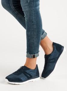 Niebieskie buty sportowe Czasnabuty z płaską podeszwą w młodzieżowym stylu