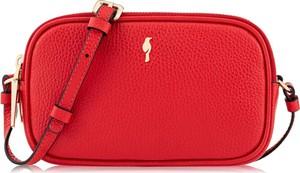 Czerwona torebka Ochnik na ramię matowa ze skóry