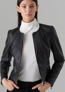 Brązowa kurtka Mohito ze skóry ekologicznej w rockowym stylu