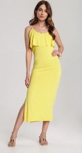 Żółta sukienka Renee dopasowana z okrągłym dekoltem bez rękawów