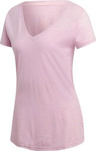 Różowy t-shirt Adidas z bawełny