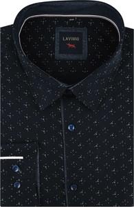 Czarna koszula Laviino z tkaniny z długim rękawem