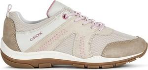 Buty sportowe Geox sznurowane ze skóry z płaską podeszwą