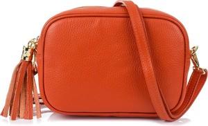 Pomarańczowa torebka producent niezdefiniowany ze skóry na ramię mała