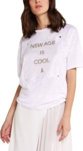 Bluzka Patrizia Pepe z lnu z krótkim rękawem w młodzieżowym stylu