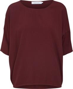 Czerwona bluzka Samsøe & Samsøe z okrągłym dekoltem z długim rękawem w stylu casual