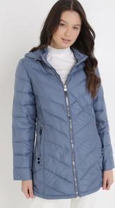Niebieska kurtka born2be długa w stylu casual