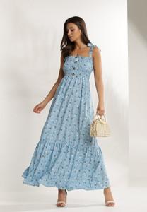 Niebieska sukienka Renee na ramiączkach maxi z dekoltem w kształcie litery v