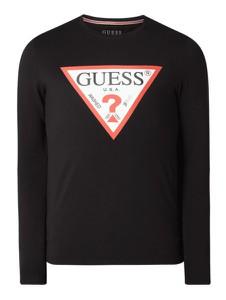 Czarny t-shirt Guess z długim rękawem z nadrukiem z bawełny