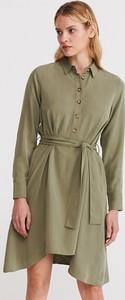 Zielona sukienka Reserved w stylu casual mini z kołnierzykiem