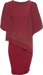 Sukienka bonprix BODYFLIRT w stylu glamour z okrągłym dekoltem z krótkim rękawem