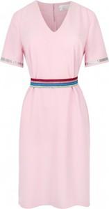 Różowa sukienka ELEONORA PORTERA z krótkim rękawem