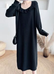 Czarna sukienka Cikelly z długim rękawem z okrągłym dekoltem