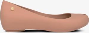 Różowe baleriny Melissa ze skóry z płaską podeszwą