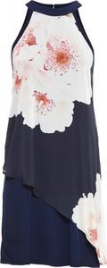 Granatowa sukienka bonprix BODYFLIRT midi z dekoltem halter