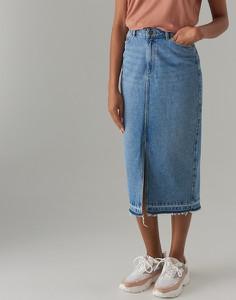 Niebieska spódnica Mohito midi z jeansu