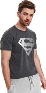 T-shirt Top Secret w młodzieżowym stylu z nadrukiem z tkaniny