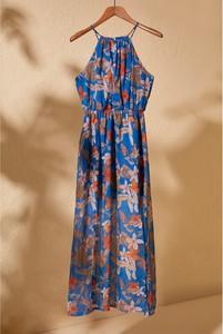 Niebieska sukienka Trendyol maxi z dekoltem w kształcie litery v