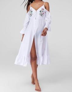 Sukienka Trendyol midi z dekoltem w kształcie litery v z odkrytymi ramionami