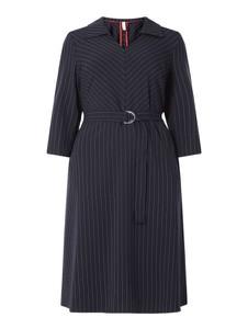 Granatowa sukienka Sheego w stylu casual z długim rękawem