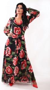 Sukienka Oscar Fashion z dekoltem w kształcie litery v maxi