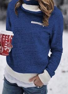 Niebieska bluzka Cikelly z długim rękawem z golfem