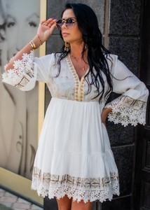 Sukienka Fason z długim rękawem z bawełny z dekoltem w kształcie litery v