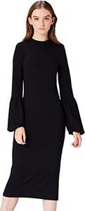 Czarna sukienka amazon.de w stylu casual z długim rękawem prosta