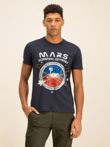 Granatowy t-shirt Alpha Industries z krótkim rękawem
