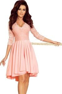 Różowa sukienka Moda Dla Ciebie asymetryczna mini z długim rękawem